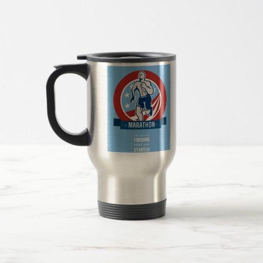 Poster retro americano del corredor de maratón taza de café