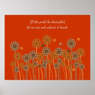Poster retro anaranjado inspirado del jardín