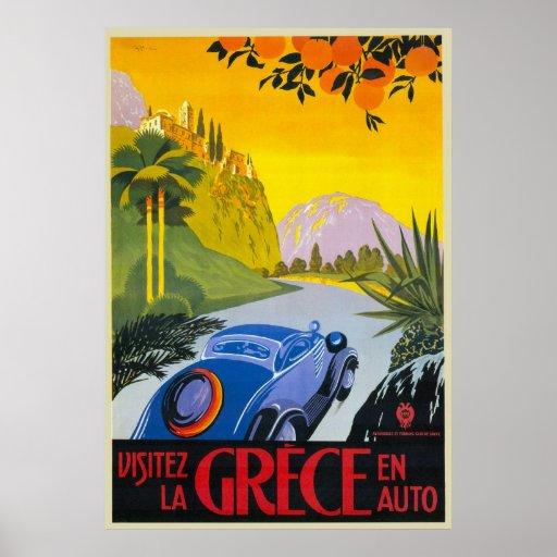 Poster retro auto del día de fiesta del En de Grec