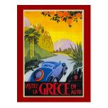 Poster retro auto del día de fiesta del En de Grec Tarjeta Postal