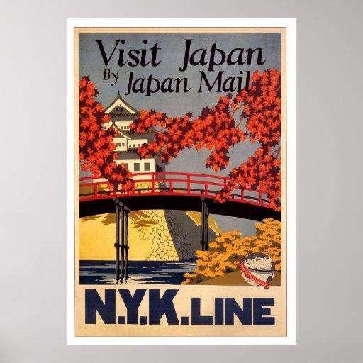 Poster retro de Japón de la visita
