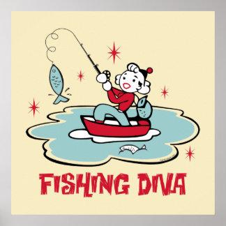Poster retro de la diva de la pesca