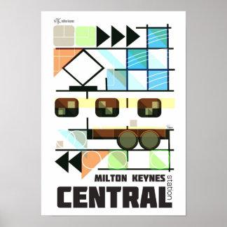 Poster retro de la estación central de Milton Keyn