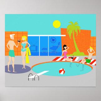 Poster retro de la fiesta en la piscina
