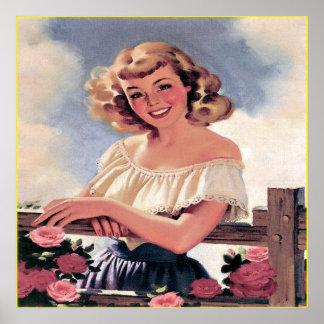 Poster retro de la impresión del arte del chica de