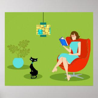 Poster retro de la mujer de la lectura póster