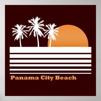 Poster retro de la playa de ciudad de Panamá