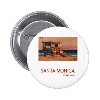 Poster retro de la playa de Santa Mónica Pin Redondo 5 Cm