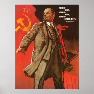 Poster retro de Lenin de la revolución rusa Póster