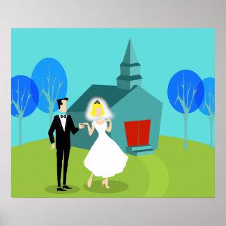 Poster retro de los pares del boda