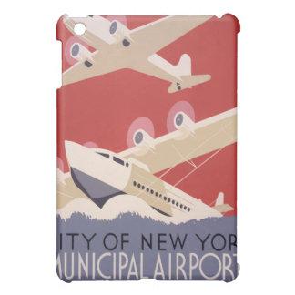 Poster retro de WPA de los aeropuertos de la ciuda