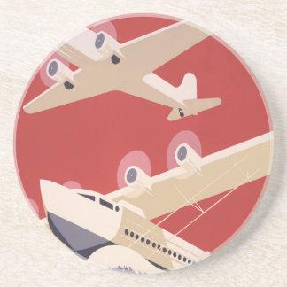Poster retro de WPA de los aeropuertos de la ciuda Posavasos Personalizados