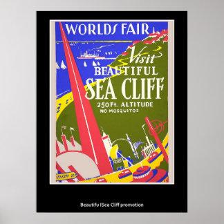 Poster retro del acantilado del mar del vintage