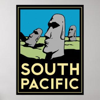 poster retro del art déco de la isla de South Paci