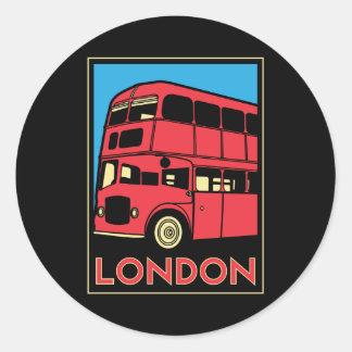 poster retro del art déco de Londres Westminster Etiquetas Redondas