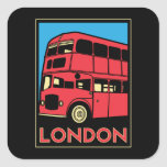 poster retro del art déco de Londres Westminster Pegatinas Cuadradas