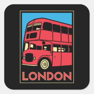 poster retro del art déco de Londres Westminster Pegatina Cuadrada