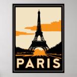 poster retro del art déco de París