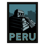 poster retro del art déco de Suramérica del inca d