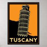 poster retro del art déco de Toscana Italia