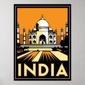 poster retro del art déco del Taj Mahal la India
