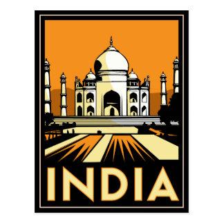 poster retro del art déco del Taj Mahal la India Tarjeta Postal
