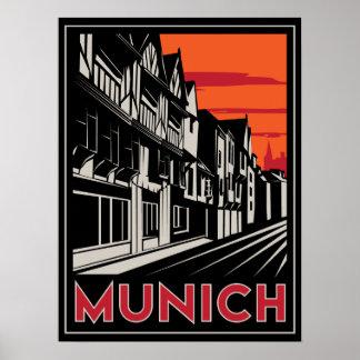 poster retro del art déco más oktoberfest de Munic