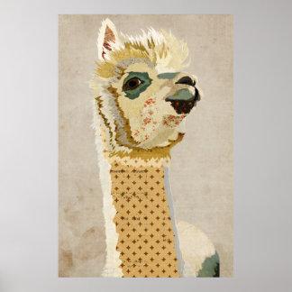 Poster retro del arte de la alpaca del oro