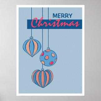 Poster retro del azul de las bolas del navidad
