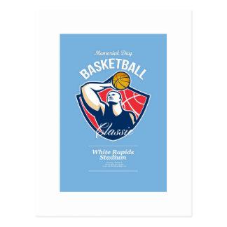 Poster retro del baloncesto del Memorial Day Postales