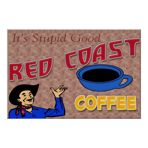 Poster retro del café rojo de la costa