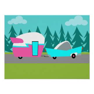 Poster retro del campista/del remolque y del coche
