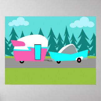 Poster retro del campista/del remolque y del coche póster