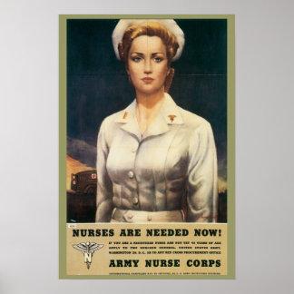 Poster retro del cuerpo de enfermera