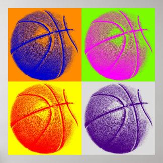 Poster retro del estilo del baloncesto del arte po
