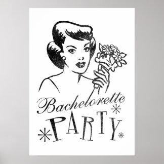 Poster retro del fiesta de Bachelorette