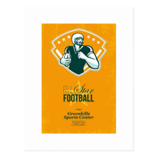 Poster retro del fútbol de All Star del americano Postal