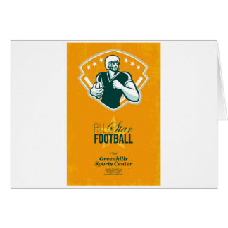 Poster retro del fútbol de All Star del americano Tarjeta De Felicitación