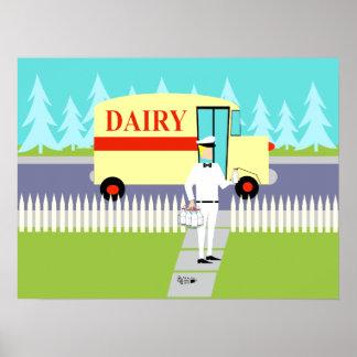 Poster retro del hombre de leche de la pequeña
