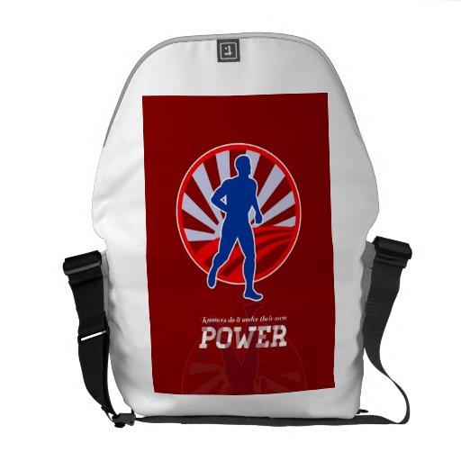 Poster retro del poder corriente del corredor bolsa messenger