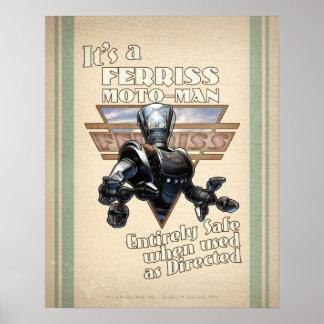 Poster retro del robot del Moto-Man de Ferris (16x