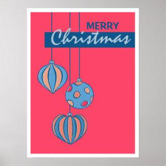 Poster retro del rojo de las bolas del navidad