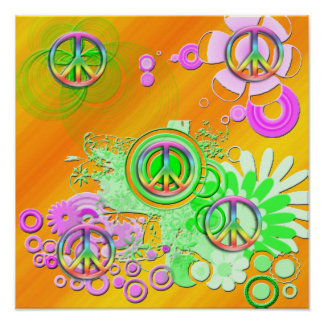 Poster retro del signo de la paz