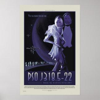 Poster retro del viaje de la NASA ExoPlanet PSO Póster