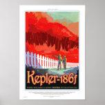 Poster retro del viaje de la NASA - Kepler 186f