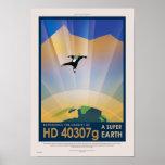 Poster retro del viaje de la NASA - tierra