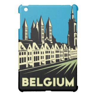 poster retro del viaje del art déco de Bélgica iPad Mini Cárcasa