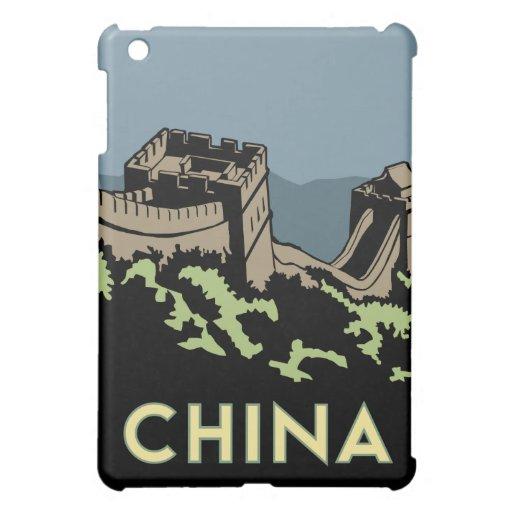 poster retro del viaje del art déco de China iPad Mini Protectores