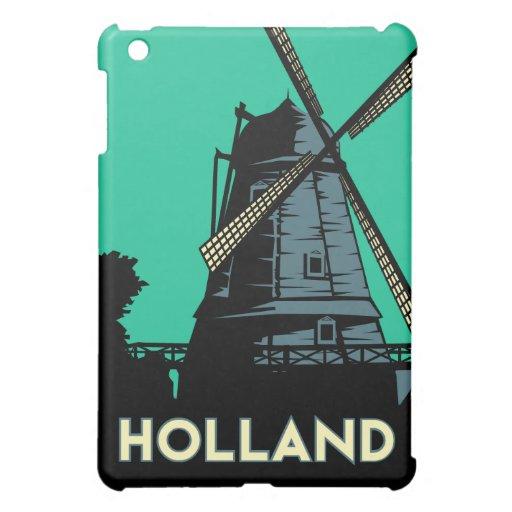 poster retro del viaje del art déco de Holanda iPad Mini Cobertura