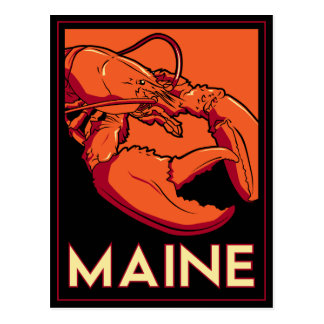 Poster retro del viaje del art déco de Maine Tarjetas Postales